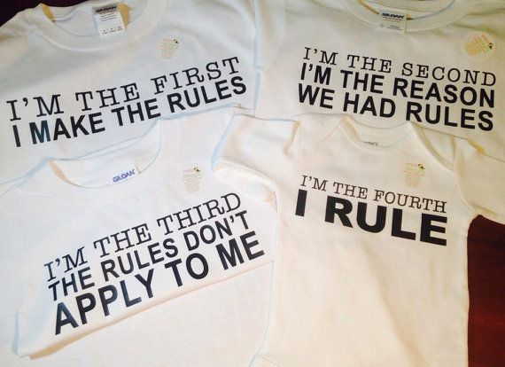 Set of 4 Sibling Rules T Shirts  Brothers or by WeeCustomDesigns