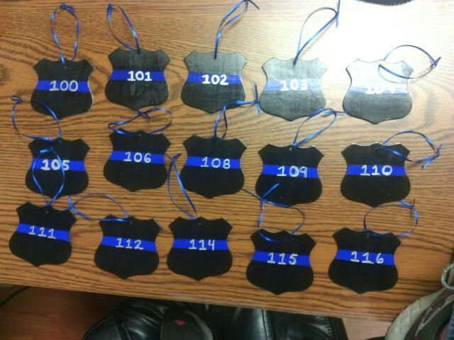 Christmas ornaments - police badges - blue thin line - crafts