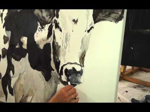 Time Lapse Acrylic Cow Painting - YouTube