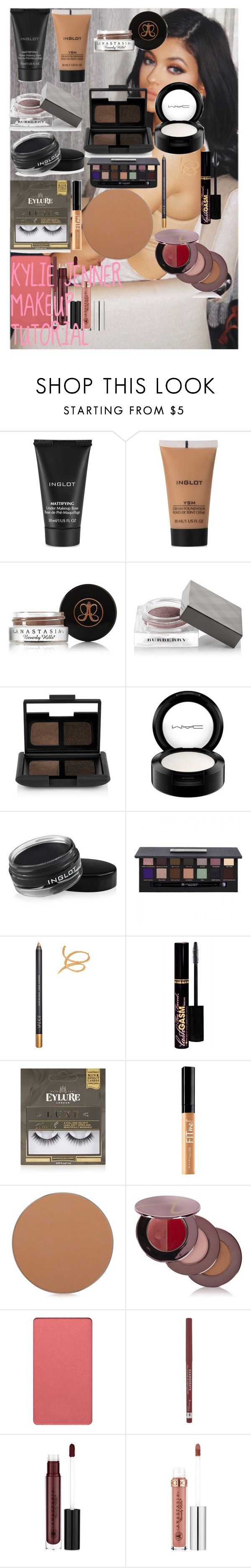 """KYLIE JENNER MAKEUP TUTORIAL"" by oroartye-1 on Polyvore featuring beauty, Inglot, Anastasia Beverly Hills, Burberry, NARS Cosmetics, MAC Cosmetics, ZOEVA, Too Faced Cosmetics, eylure and Maybelline"
