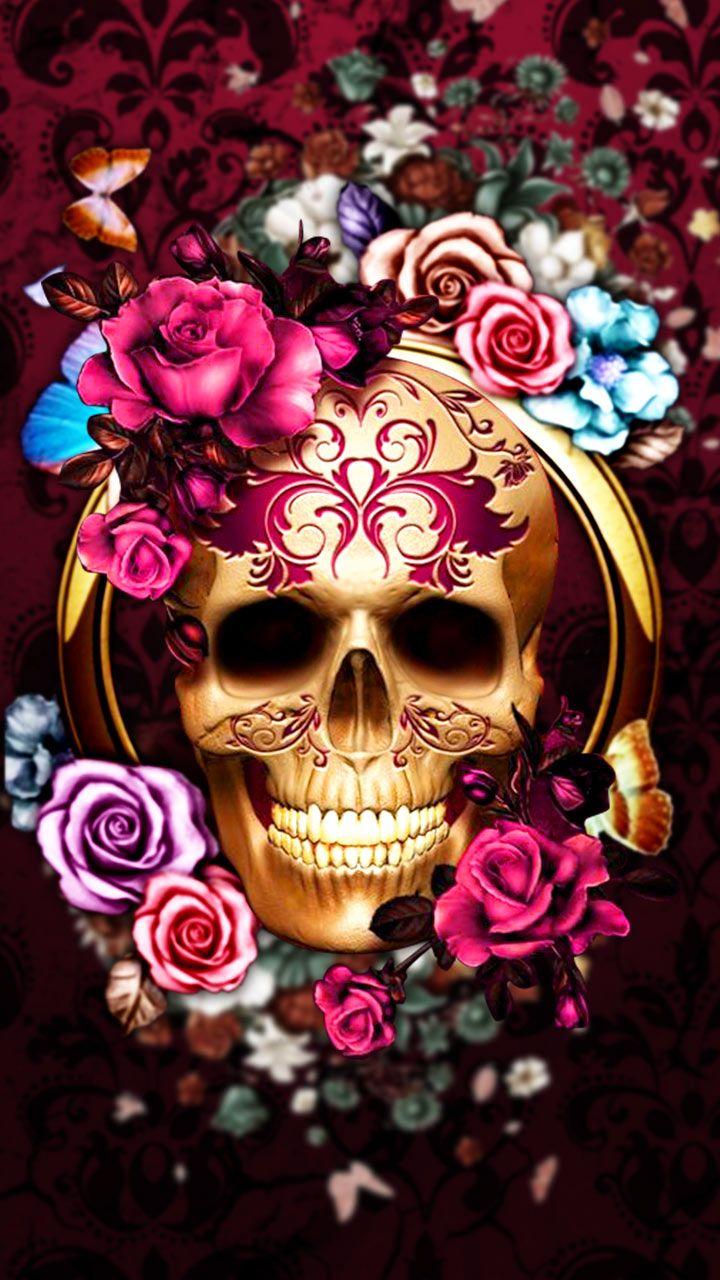Pretty Skull Wallpaper Flowery Roses Skull Gold In 2019