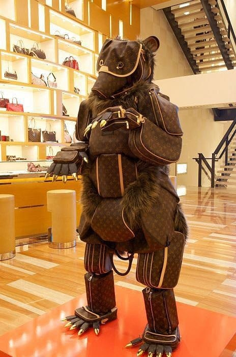 Louis Vouitton Monogram Bear on display in a LV Boutique in France.