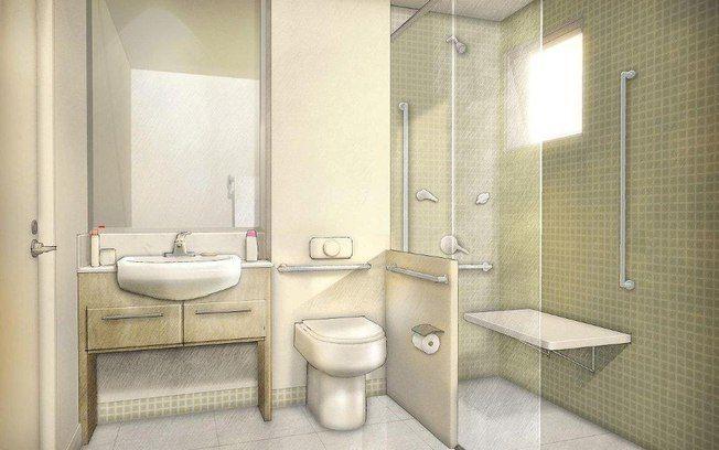 Nos banheiros dos apartamentos, piso antiderrapante, espaço para circulação de cadeiras de rodas e barras de apoio