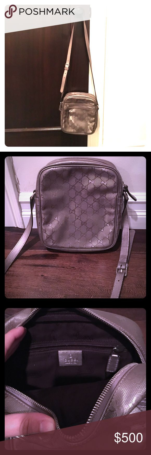 Authentic Gucci messenger bag NWT Gucci messenger bag in grey/silver. Has the gucci pattern on it Gucci Bags