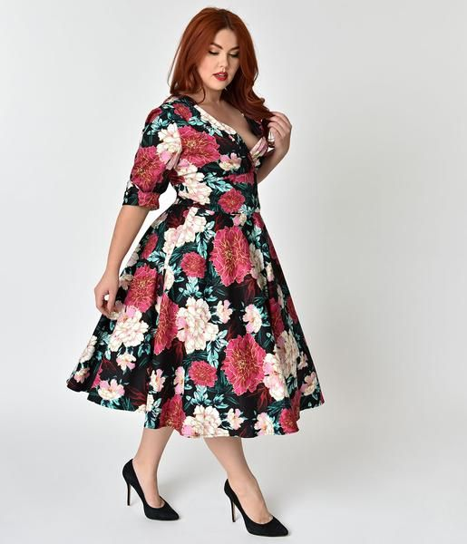 828c7f9f29 An elegant floral dress in fabulous plus size 1950s vintage allure fresh  from Unique Vintage, The Delores features an enchanting print of purple ...