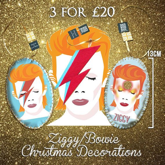 Ziggy Stardust Bowie Christmas Hanging Decorations Ornaments 3