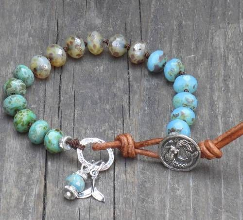 Boho Chic Mixed Picasso Czech Glass with Mermaid Button and Tail Charm Bracelet