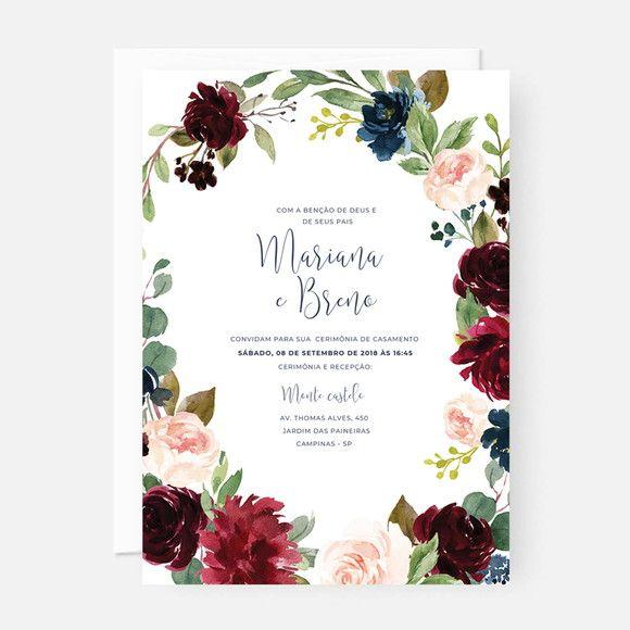 Arte Digital Convite Casamento Floral Marsala P Imprimir