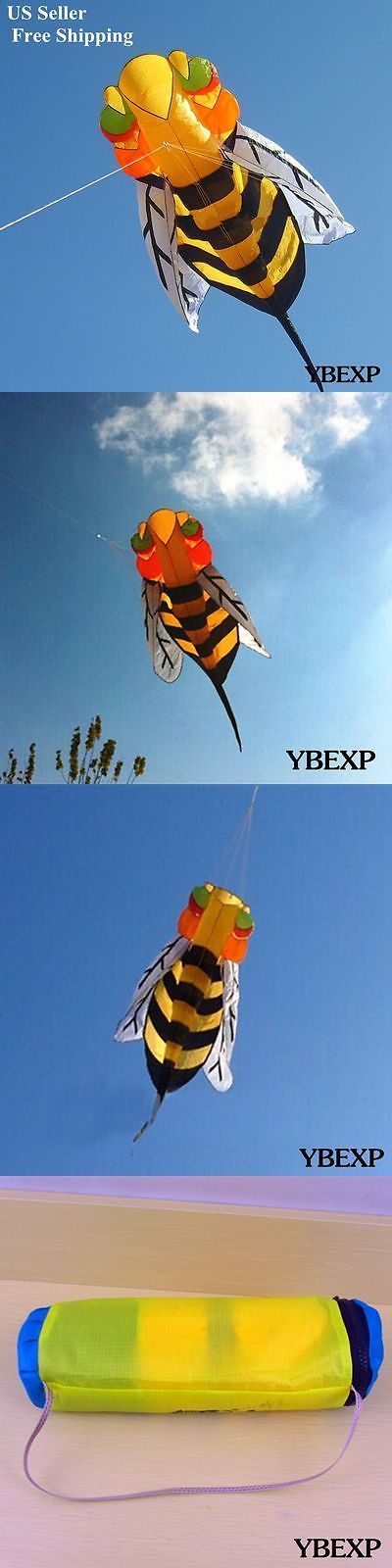 Kites 2569: 2.8M Small Lovely Yellow Bee Soft Single Line Kite Outdoor Toys Eye Catching Us -> BUY IT NOW ONLY: $32.99 on eBay!