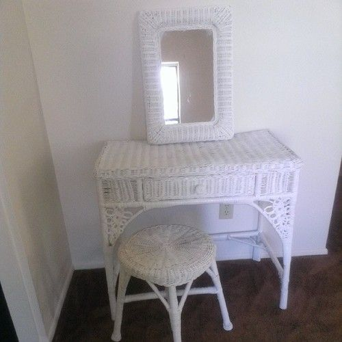 #first #project in the #new #house #completed #old-school #wicker #vanity #repainted #shabby #chic - @nesha_est1989