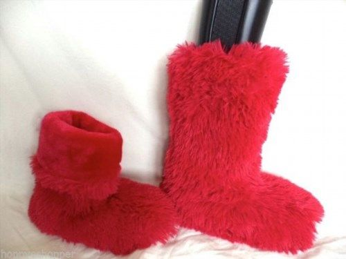 19.79$  Buy here - http://vicsf.justgood.pw/vig/item.php?t=xd9e4xw4988 - Long faux hair apre ski style mid boot slippers womens M 7-8 raspberry mint cute 19.79$