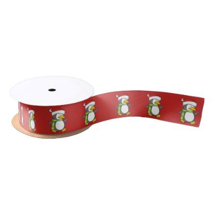 Christmas penguin walking on snow satin ribbon - Xmas ChristmasEve Christmas Eve Christmas merry xmas family kids gifts holidays Santa