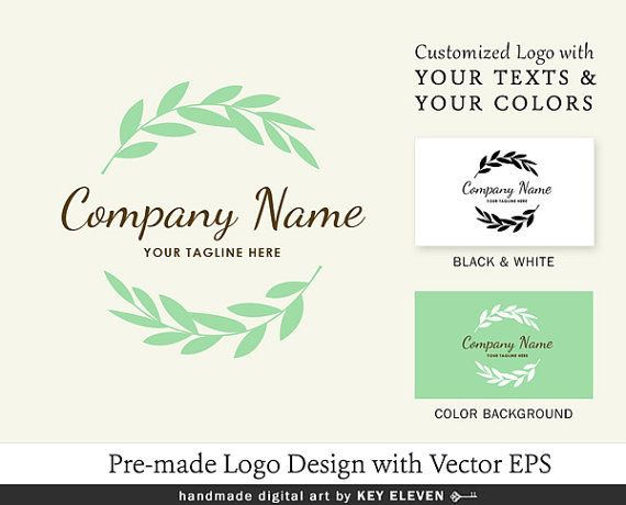 This pre-made logo design can be used for for Etsy Shop owners, Photographers, Bloggers, Floral shop, Crafty Small Businesses or Marketing. You can choose your own colors and layout (horizontal or vertical orientation) free as it's included as part of this package. Details: leaf, leaves, branch, foliage, green, modern, curved, script