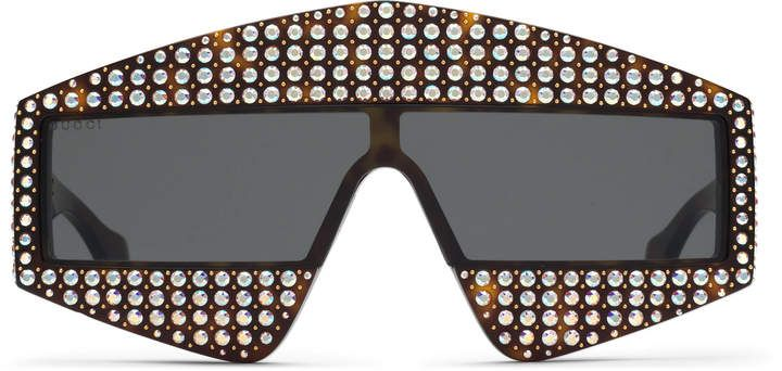 318c41dbfd33 Gucci Rectangular-frame acetate sunglasses with crystals