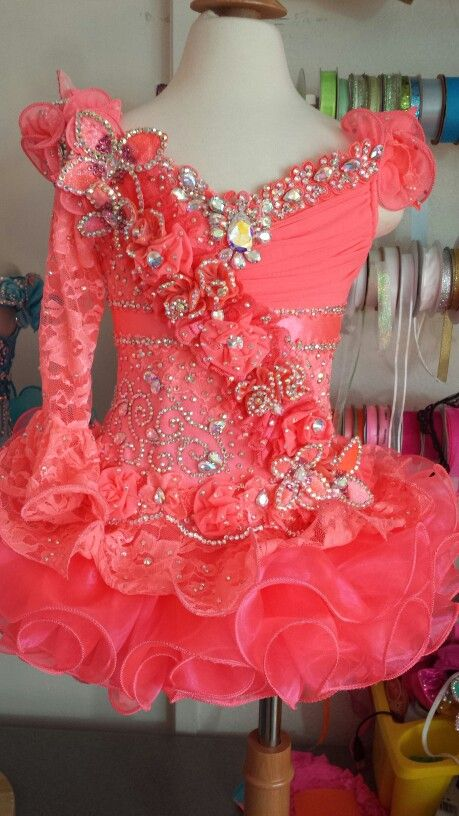 Gorgeous coral glitz pageant dress by Royalty Designs