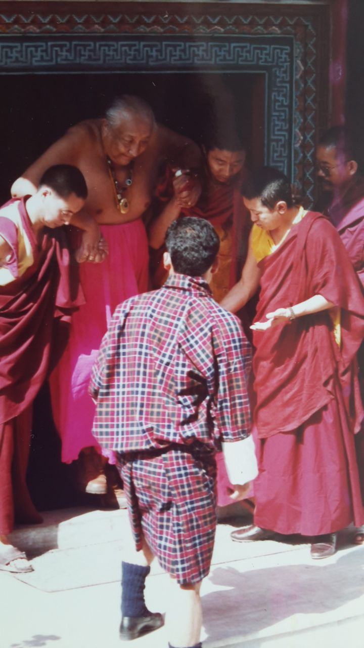 This is Dilgo Khyentse Rinpoche coming out from the Monastery of Dudjoom Rinpoche in Boudanath Nepal, where his body had just been installed in a golden Stupa. See more at: http://www.everherenow.com/p/books-by-writer_8768.html