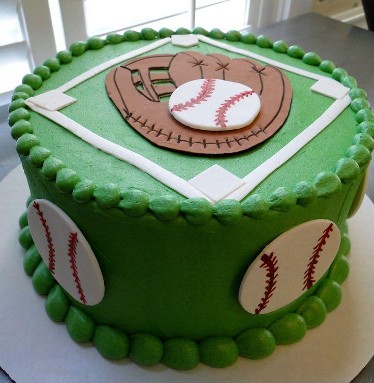 Baseball field and glove cake (gum paste)