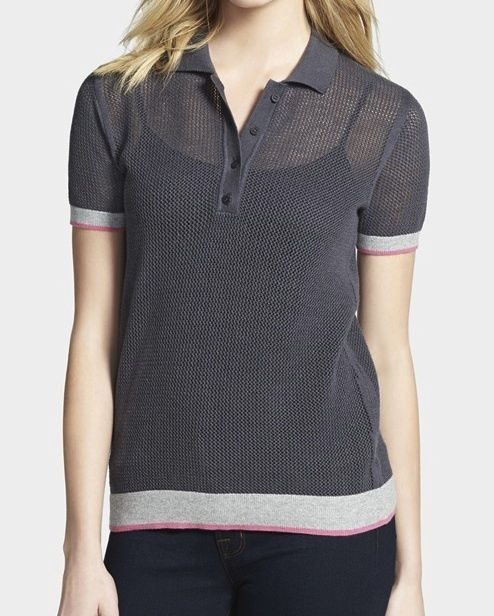 Bailey 44 Anthropologie Saks Player Open Stitch Color Block Polo S $202 NWT #Bailey44 #PoloShirt
