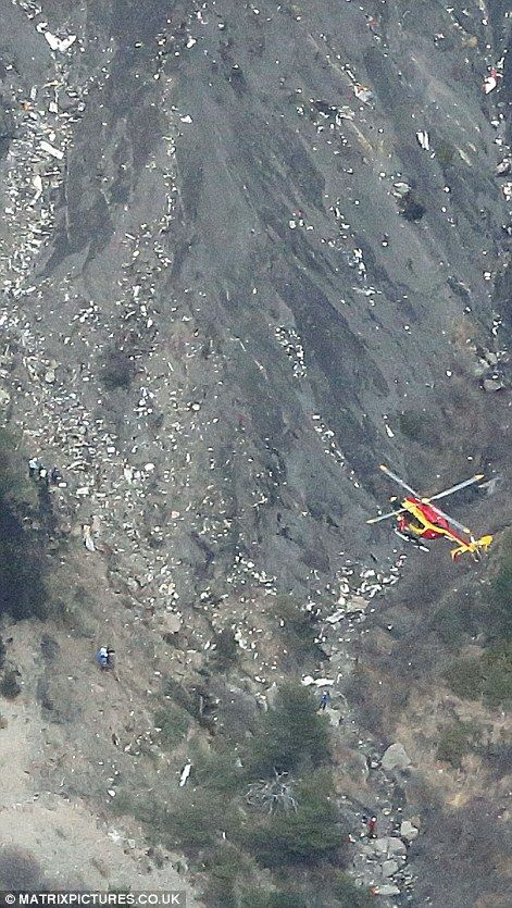 Wreckage of the Germanwings Airbus A320 plane that crashed between the towns of Barcelonne...
