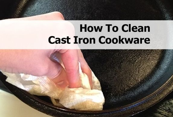 Clean cast iron pans with vegetable oil and a teaspoon of coarse salt to combat cooked on debris, then rinse with hot water.