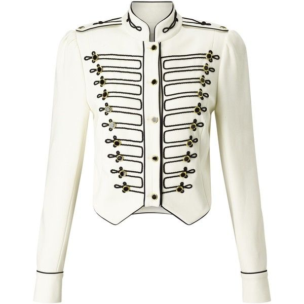 Somerset by Alice Temperley Military Jacket, Ivory (13.235 RUB) ❤ liked on Polyvore featuring outerwear, jackets, white cropped jacket, military style field jacket, long sleeve jacket, military army jacket and military inspired jacket