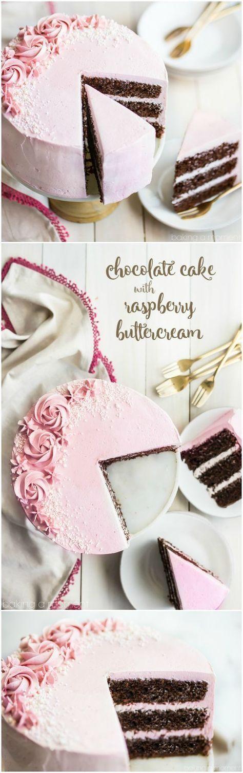 fluffy chocolate cake with fresh raspberry buttercream