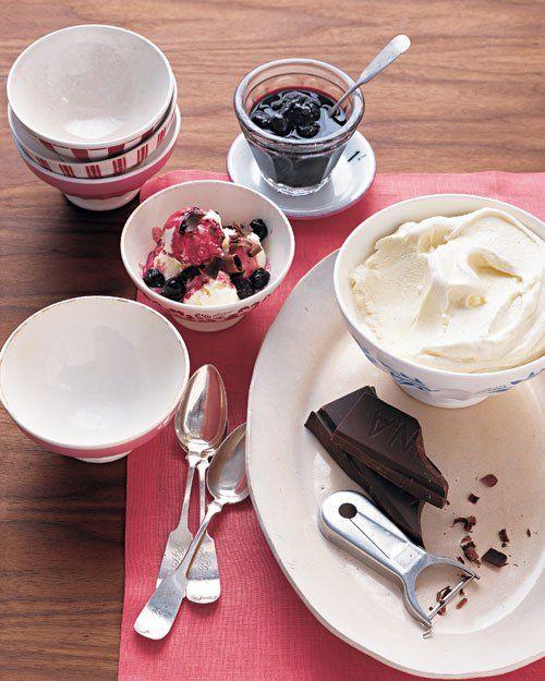 Vanilla Frozen Yogurt with Brandied Cherries and Dark Chocolate. These brandied cherries sound wonderful.