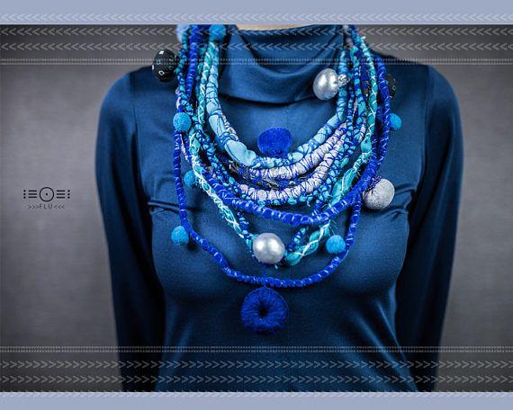 Blue crochet necklace Psychedelic dreamy style pompom yarn