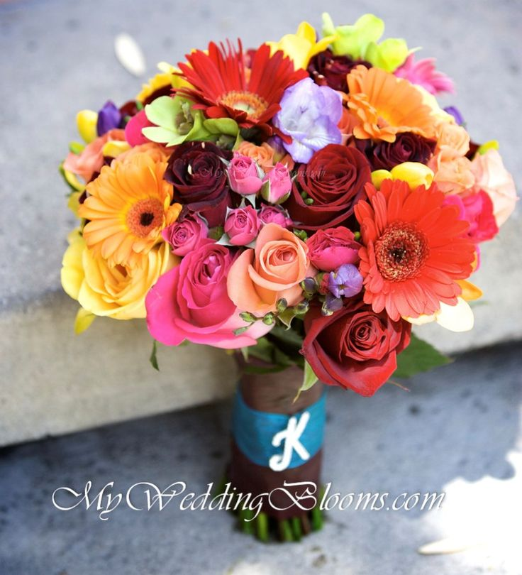 Flowers that we will use in Melissa's bouquet. Gerbera daisies (mini), roses, freesia, ans spray rose.