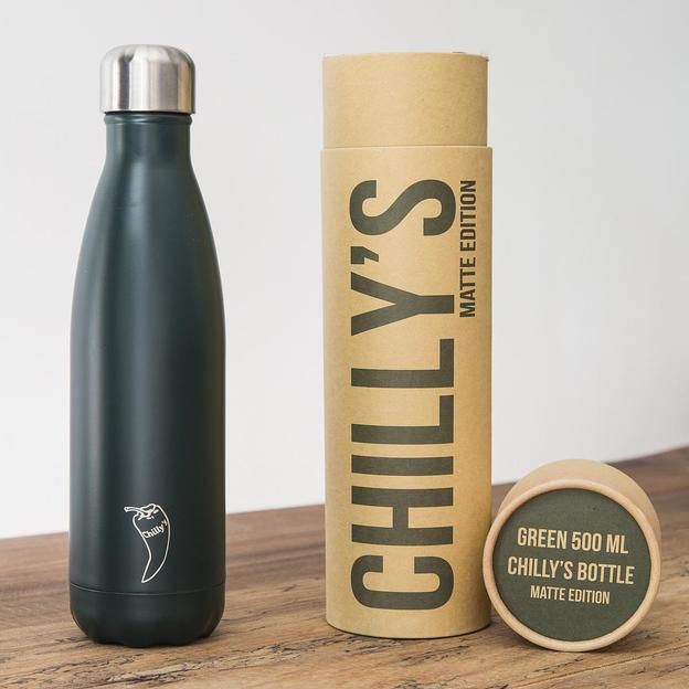 Chilly's Bottles, Trinkflasche-Grün Matt-Standard-500ml