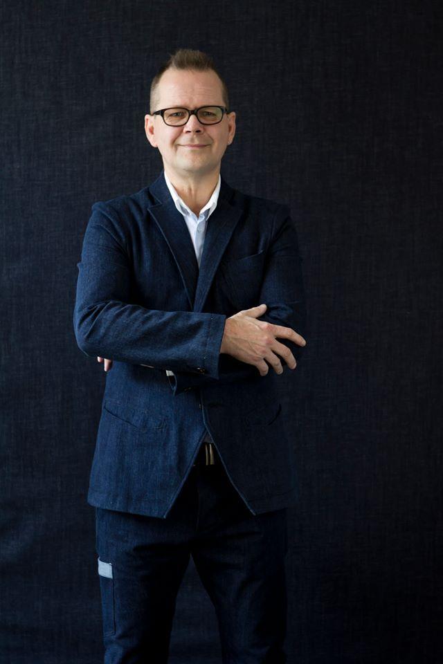 Writer Kari Hotakainen in #FRENN #denim #suit and #shirt Photo: Riitta Sourander