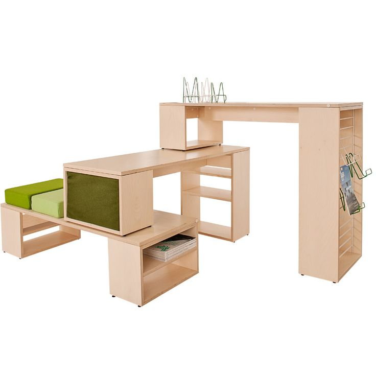DoReMi  Modular system that lifts your library. Build and rebuild according to your needs. Create squares and spaces for display and exposure, build a magazine corner or a table for newspaper readers, or a bench for computerusers or kids.  In cooperation with Designed By JEPSON