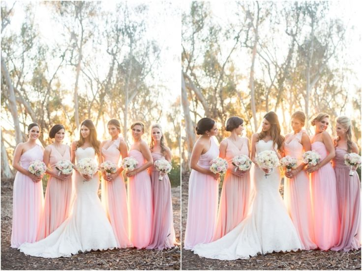 Different shades of pink bridesmaids dresses