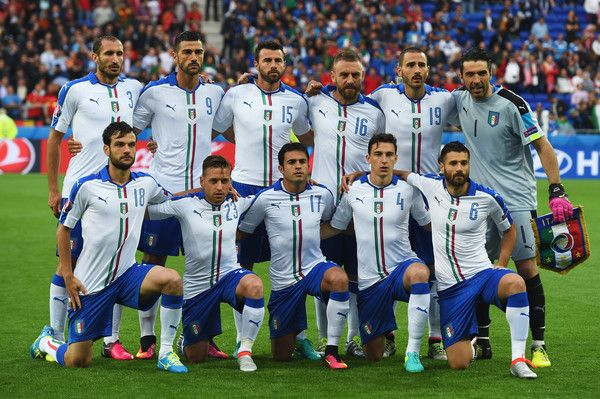 Italy players line up for the team photos prior to the UEFA EURO 2016 Group E match between Belgium and Italy at Stade des Lumieres on June 13, 2016 in Lyon, France.