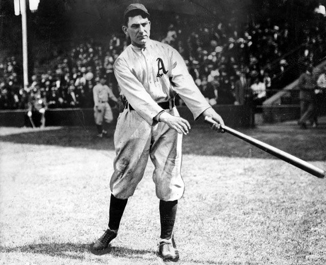 HITTER: Nap Lajoie with the Philadelphia Athletics. Lajoie is mostly noted for his years in Cleveland. He also played for both Philadelphia teams, first the Phillies. A second baseman, Lajoie won four batting titles and had a lifetime (21 year) batting average of .338 and 3243 hits. He played 1896-1916.