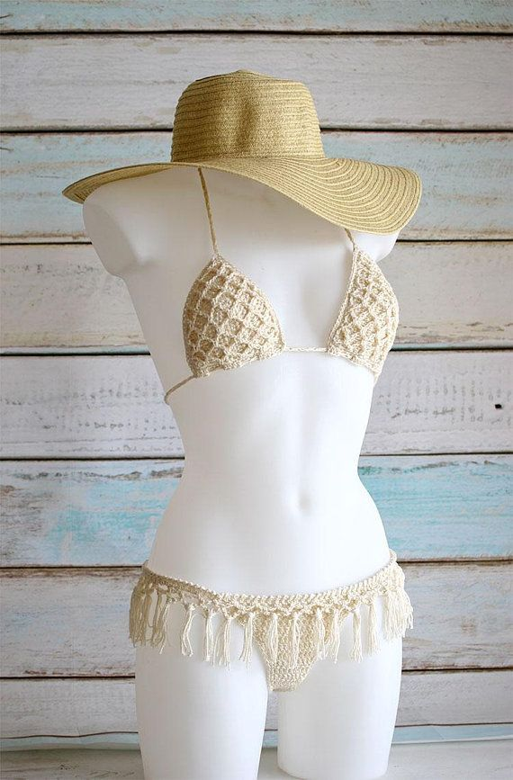 Bikini And Boho Set Bottom Crochet WithFringe Of DeW2EH9YI