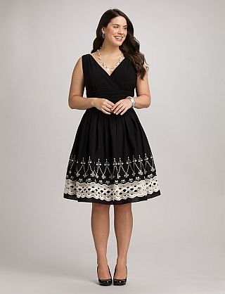 Plus Size | Dresses | Special Occasion Dresses | Plus Size Embroidered Fit-and-Flare Dress | dressbarn