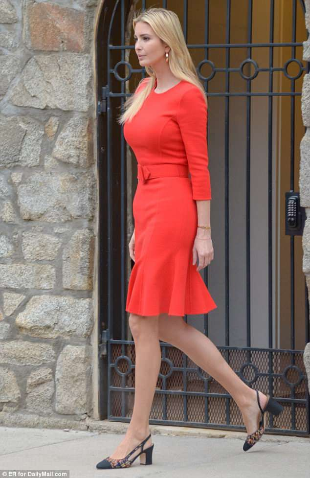32177f94e93 Ivanka Trump heads back to work in a bright red dress after a week ...