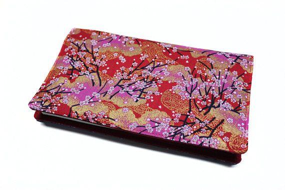porte-chéquier rouge en tissu japonais format portefeuille