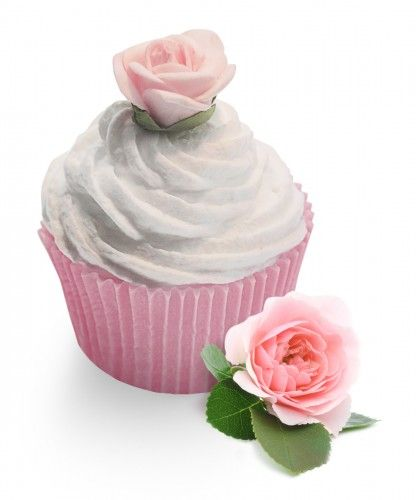 Rose Garden creative cupcakes soaps A lovely white soap cupcake  finished with a lovely pink silk rose.  This lovely soap is enriched with a fresh green rose scent with subtle fruity notes.  A modern interpretation of a classical rose fragrance with a floral heart.  These scents  transports  you into a romantic, sensual mood.