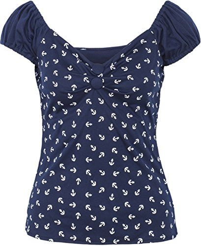 pretty nice a18a2 691b9 Küstenluder Damen Oberteil Quincy Anker Sailor Kurzarm Shirt ...