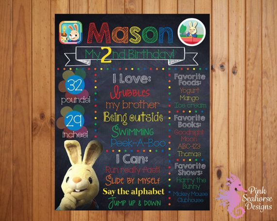 Harry the Bunny Baby First TV birthday party chalkboard sign! Get this adorable chalkboard sign for your childs next party and a keepsake