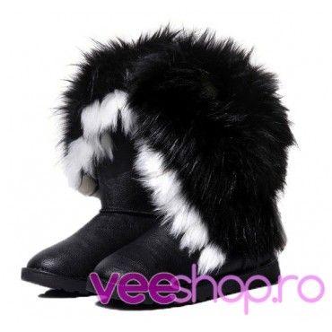 Cizme tip UGG cu blana de iepure, cizme de zapada, negre, joase, fara toc, blanita multicolora si pufoasa