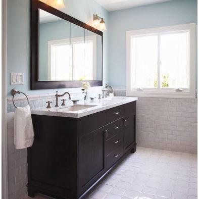 Black Vanity With White Tile Floor Guest Bath