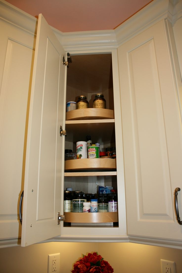 Wood Lazy Susan In A Diagonal Corner Wall Cabinet Cabinet Organization Pinterest Wall
