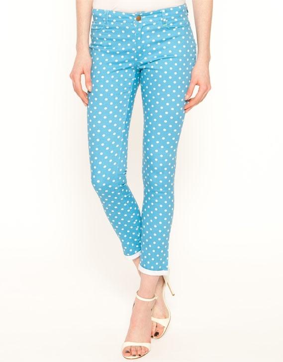Blue dotted women pants   Dress like a star