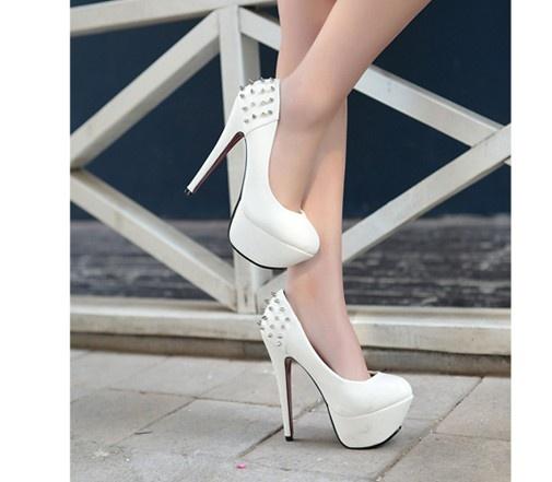 Fashion Rivet Embellished Waterproof Slim High-Heel Shoes White