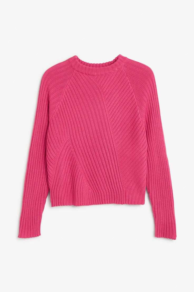 Monki Image 1 of Ribbed knit sweater in Pink Dark