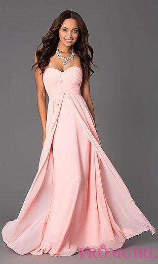 Long Strapless Empire Waist Prom Dress at PromGirl.com