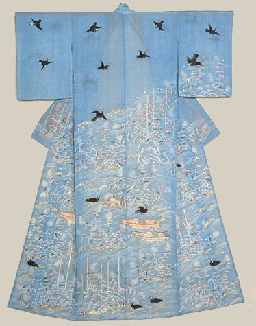 Katabira (Summer Kimono) with Imperial Cormorant Fishing Scene in Dyeing and Embroidery on Light Blue Ramie Ground. 18th century, Japan. Kyo...